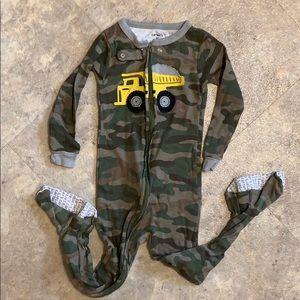 Boys camo dumptruck footie pajamas